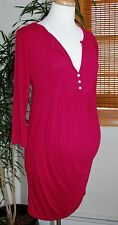 Olian Maternity Knit Dress/Tunic - size MEDIUM 8/10 - Pink Magenta 3/4 Sleeve