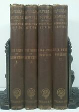1857~WAVERLEY NOVELS~4 Brown Book Set~Old Decorative Lot~BLACK DWARF~MONTROSE