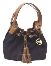 NEW MICHAEL KORS CAMDEN LARGE DARK DENIM DRAWSTRING SATCHEL TOTE SHOULDER BAG