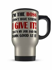 14oz I'm The Boss Novelty Gift Aluminium Travel Mug