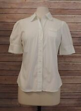 ODILLE ~ Size 8 ANTHROPOLOGIE White Blouse Top Button Down STRETCH Classic Fit