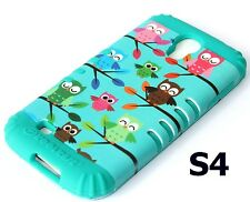 Samsung Galaxy S4 - HARD & SOFT RUBBER HYBRID CASE TURQUOISE GREEN / BLUE OWL