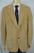 Vtg Brooks Brothers Tan 2 Button Smooth Corduroy Blazer Men's Sz 44 Long