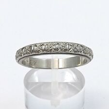 ART DECO 18K WHITE GOLD ORNATE HIGH RELIEF FLORAL WEDDING BAND RING  Sz 9.25