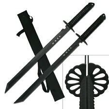 2 Twin Ninja Fighting Sword Swords Full Tang With Shoulder Strap #6183