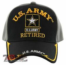 NEW! US ARMY STAR RETIRED SIDE LINE BALL CAP HAT BLACK GRAY