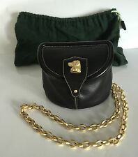Barry Kieselstein-Cord Black Leather Bag with Lab and Gold Chain Shoulder Strap