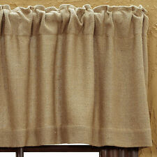 BURLAP NATURAL TAN WINDOW VALANCE : PRIMITIVE BEIGE BROWN COUNTRY