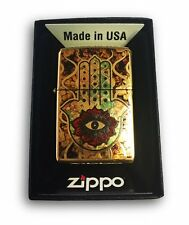 Zippo Custom Lighter - Fuzion Hamsa Hand - Brush Brass