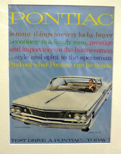 Original Vintage Advertisement mounted ready to frame USA car Pontiac 1960