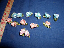 """Thirteen  Mixed Colors Looped  1"""" Ribbon Roses With Pearls & Leaves by  Offray"""