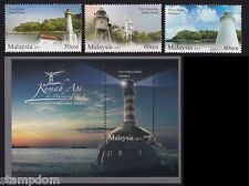 MALAYSIA 2013 Lighthouses 3v stamps set plus MS - MNH @J568