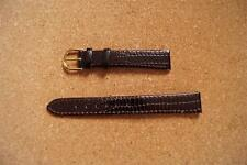 NEW REAL LEATHER SNAKE SKIN LIKE 14MM,COLOUR DARK BROWN / GOLD COLOUR BUCKLE