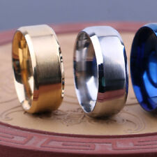 Unique Men Stainless Steel Ring Band Titanium  For Wedding Party BLACK SIZE 6