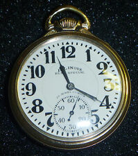 1930 Illinois BUNN SPECIAL 10K GF 163 23J 60hr RailRoad Pocket Watch
