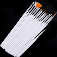 15pcs White Brush Nail Art UV Gel Drawing Dotting Acrylic Painting Pen Polish SP