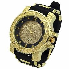 Mens Gold Black Hip Hop Iced Out Fashion Silicone Quartz Wrist Watch Techno