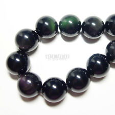 "14 Natural Rainbow Obsidian Round Beads 14mm 7.9"" Black #11250"