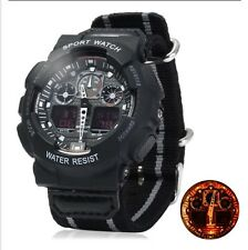 UK Mens XL Black Tactical Military Shock Proof Led Digital Sports Watch.
