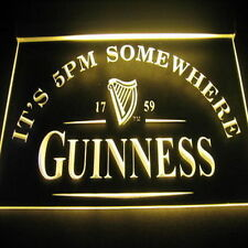 NEON SIGN GUINNESS  ITS 5.00 PM BAR BEER PUB   SOMEWHERE  HAPPY HOUR MAN CAVE