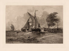 "Impressive 1800s George CHAMBERS Etching ""A Windy Day at Sea"" SIGNED Framed COA"