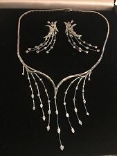 18k WHITE Gold SET -NECKLACE AND  ERRINGS WITH Diamonds, APPRAISAL