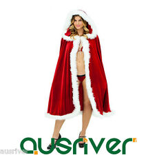 Women Christmas Costume Cape Cloak Poncho Bikini Santa Claus Cosplay PhillackCLK