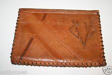 "Vintage Nice Art Deco Monogram ""GVL"" Hand Made Western Soft Leather Wallet Rare"