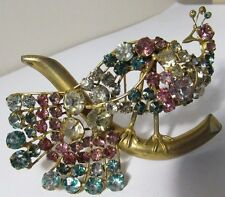 "Vintage 1930's 3.75"" Rhinestone Peacock Bird Fur Clip Brooch Pin Figural Glass"