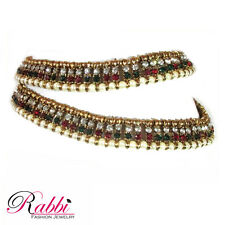 Double line Antique Gold Tone pearl Anklet/payal  with color stone