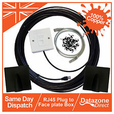 50m Cat6 External Outdoor Network Cable Ethernet Extension Kit Face Plate Box