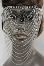 Women Silver Metal Chain Head Face Mask Fashion Jewelry Spider Web Net Halloween