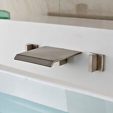 Waterfall Widespread Bathtub Mixer Tap Wall Mount 3 Holes Faucet Brushed Nickel
