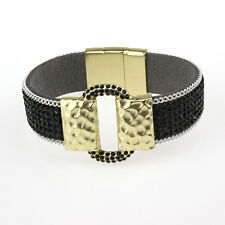 New Luxury Jewelry Leather Rhinestone Gold Plated Women Bracelet Bangle Cuff
