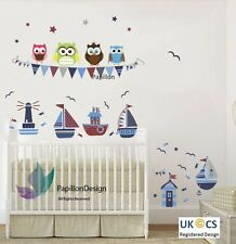 Owls, Seagulls, Sailing Boat, Fish, Flag, Stars Nursery Decal Baby Wall Sticker