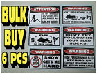 FUNNY WARNING SNOWMOBILE SLED STICKERS SNO X RACING SNOW TRAIL SKI STUD 6 PC GR1