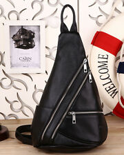 Men's Black Real Leather Crossbody Backpack Sling Shoulder Bag Casual Sports Use