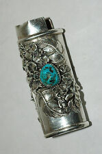 Wonderful Navajo Sterling SIlver Turquoise Coral Bic Lighter Cover Signed