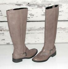 ENZO ANGIOLINI~TAUPE~SOFT PEBBLED LEATHER *STUDDED BELTED* TALL RIDING BOOTS~6