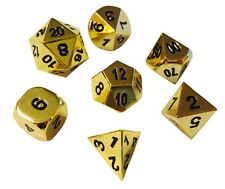 Gold Color Metal and Black Number- Solid Metal Polyhedral RPG Dice Set of 7 Dice