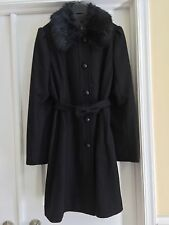 Women's NW/OT Sz M Black Banana Republic Winter Coat Detachable Faux Fur Collar