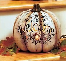 Autumn Harvest Ceramic Country Pumpkin Lighted Welcome Cutout Stars LED Candle