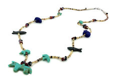 Hand Carved Multicolored Single Strand Horse and Mixed Animals Fetish Necklace