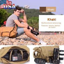 Waterproof SLR Canvas Camera Bag Travel Bag Backpack Rucksack Shoulder Messenger
