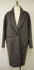 BY MALENE BIRGER Grey Mohair & Alpaca Wool Knee Length Coat Size UK 8 FR 36