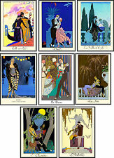 Vintage art deco George Barbier illustrations love note cards tags ATC set of 8
