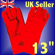 Leather Welders Gauntlets high temperature long gloves stove log fire ashes