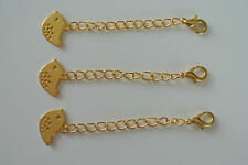 Gold Plated Extender with Cute Bird and Lobster Clasp x 3