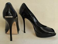 Miss Dior Christian Dior Black Patent Peep Toe Pumps Shoes Sz 7 Retail $590