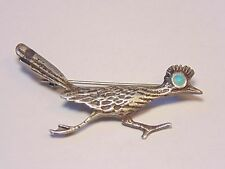 Vintage Navajo Native American Sterling Silver 925 Turquoise Road Runner Pin